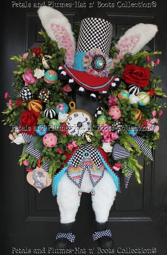 the big holiday wreath - very cute: Alice In Wonderland, Easter Bunnies, Easter Wreaths, Bunnies Wreaths, Spring Wreaths, Holidays Wreaths, White Rabbit, Wreaths Th, Hatters Rabbitt