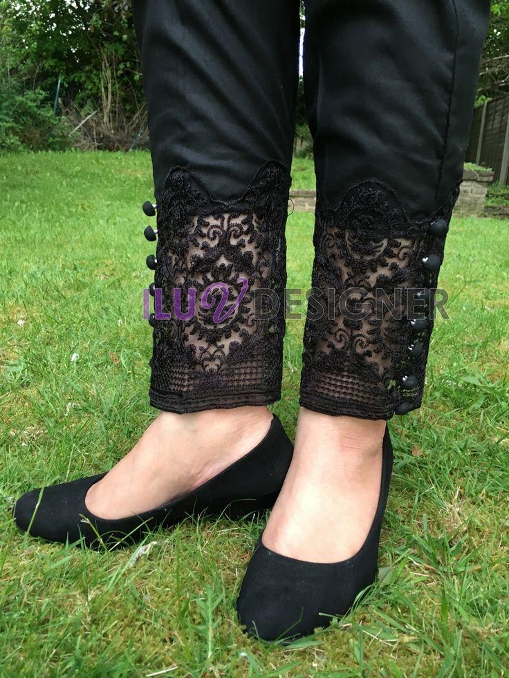 Pakistani Designer Dresses - Lowest Prices - Pakistani embroidered lace straight pant   - Latest Pakistani Fashion
