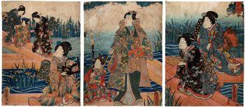 Lotto 00159 N.1 trittico di xilografie ukiyo-e  Utagawa Kunisada  PRIMAVERA  Periodo: 1847 - 1852 Condizioni: segni del tempo Dimensioni: 63 x 28 cm