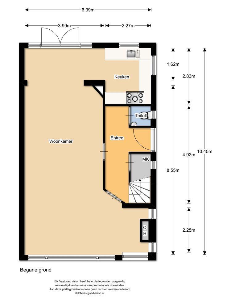 Floor plan ground floor, Plantsoenlaan 17, Bloemendaal. Voortuin met oprit, entree, meterkast, toilet met fontein, riante woonkamer met open haard en openslaande deuren naar de achtertuin, de keuken is voorzien van diverse apparatuur waaronder een 5-pits gaskookplaat, afzuigschouw, combi oven, vaatwasser en koelvriescombinatie. De gehele begane grond is voorzien van een white wash parket vloer uit 2013.