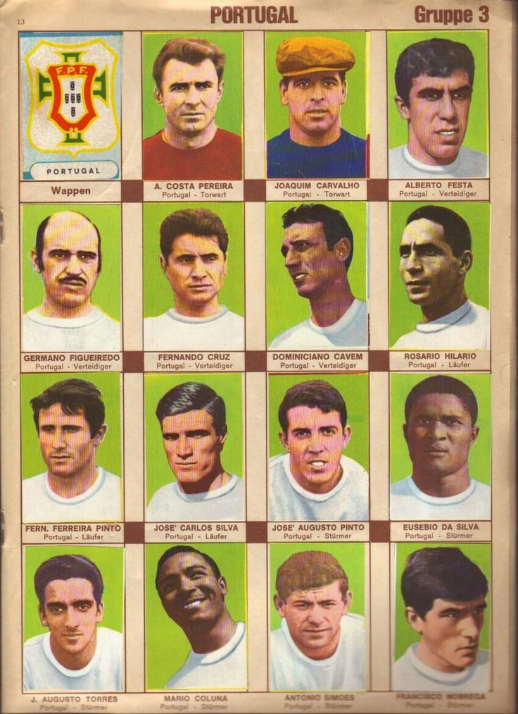 Portugal team stickers for the 1966 World Cup Finals.