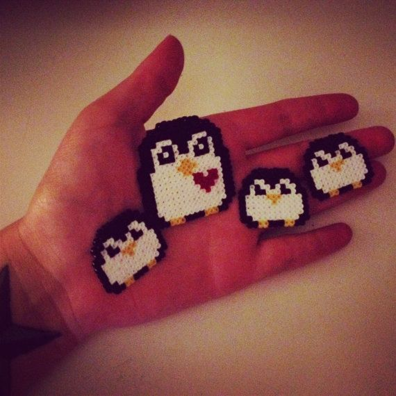 Mother and babies penguin hama beads