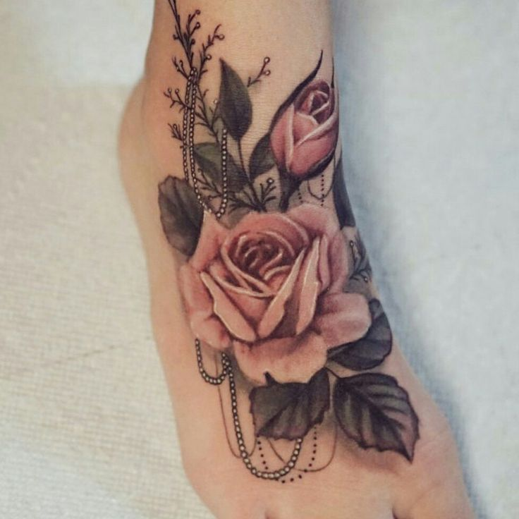 Vintage Beautiful Roses Tattoo-Download Free Vintage Beautiful Roses Tattoo On Foot to use and take to your artist.
