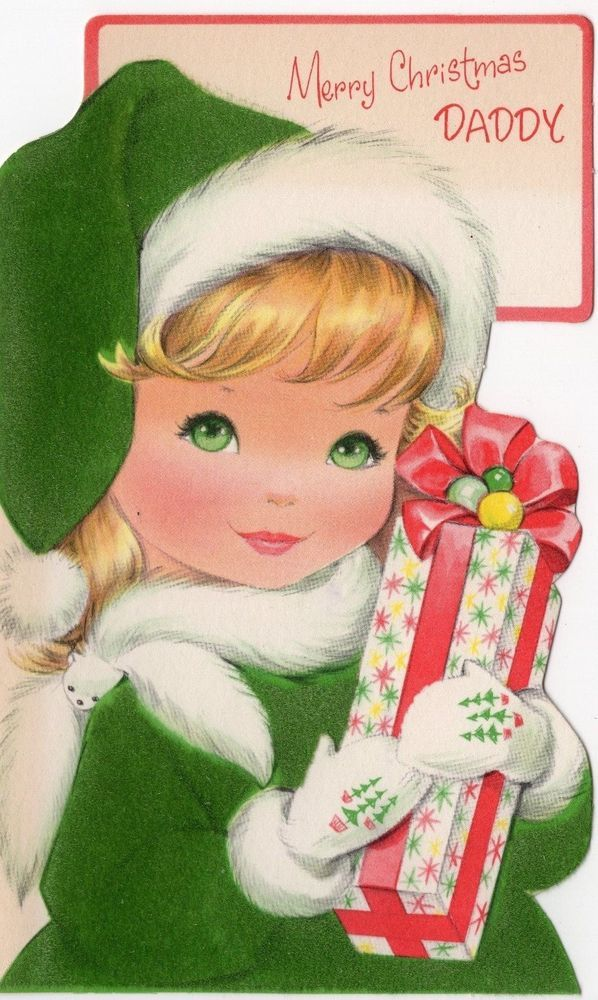 Blonde Pretty Girl Diecut Green Flocked Lady Woman VTG Christmas Greeting Card
