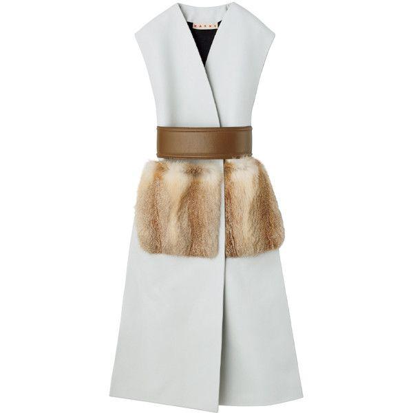 ジレ ❤ liked on Polyvore featuring outerwear, coats, dresses, vest and white coat
