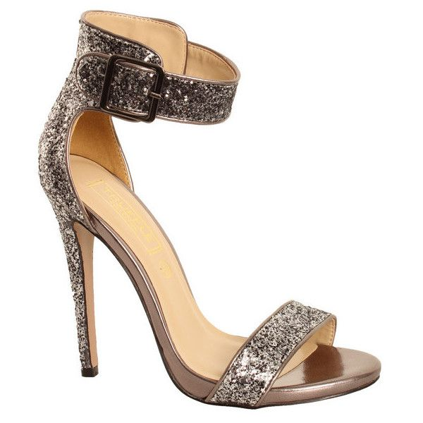 Shop Dv8 Rita Pewter Heavy Glitter Sandal in S/grey Online At DV8 ❤ liked on Polyvore featuring shoes, sandals, heels, grey heel sandals, pewter shoes, gray sandals, heeled sandals and gray shoes