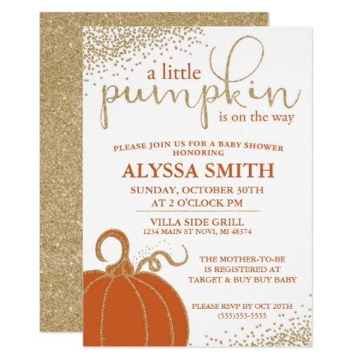 Little Pumpkin Fall Baby Shower Invitation