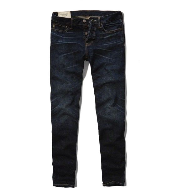 Abercrombie & Fitch Classic Taper Jeans (€25) ❤ liked on Polyvore featuring men's fashion, men's clothing, men's jeans and dark wash