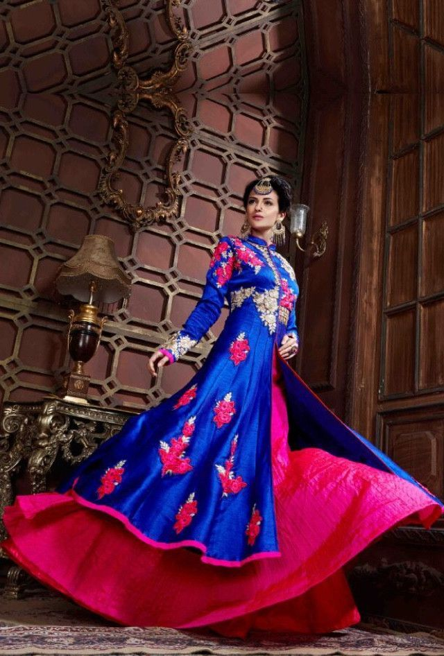 Blue and pink designer dress with dupatta