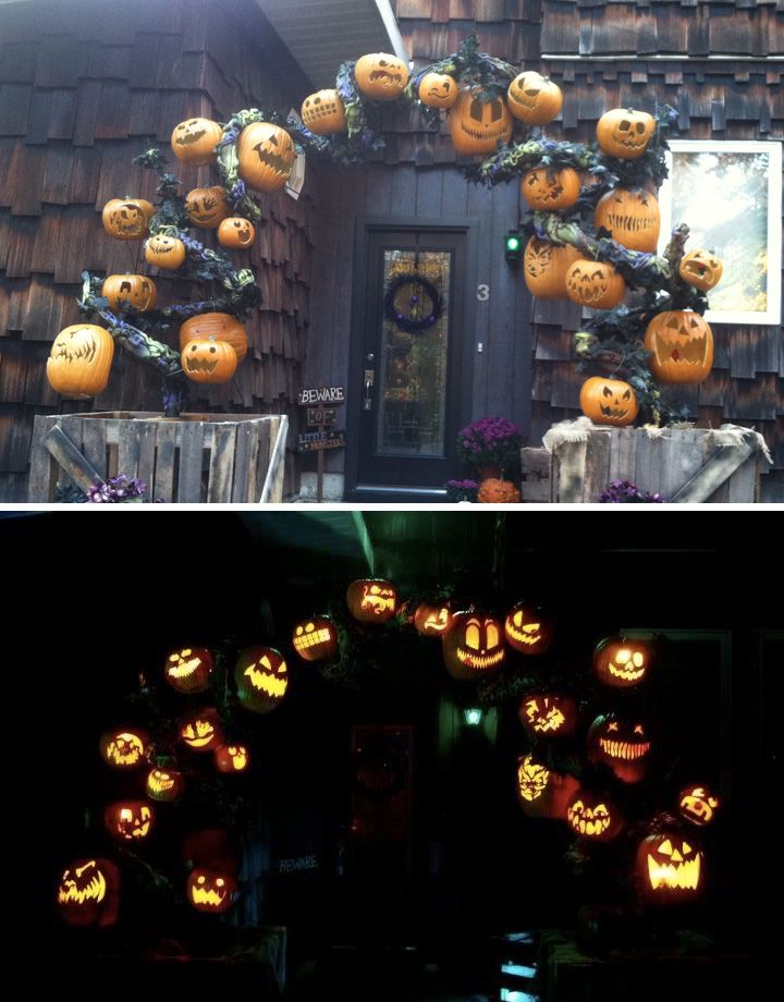 my pumpkin arch build - electrical conduit - pool noodles - spray foam - super lightweight and sturdy. CrunchCreations2013: