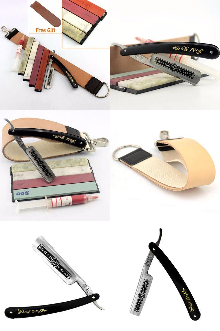 [Visit to Buy] Men Gold Dollar Straight Razor Folding Knife Shaving Sharpening Strop Stone Sharpener Polishing Paste Best Shaving Kit #Advertisement