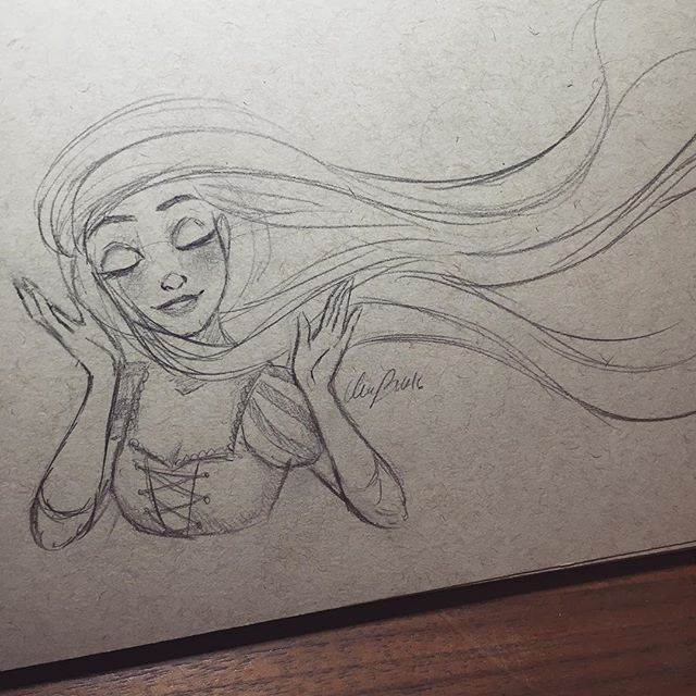 Finally feeling inspired enough to draw and now I have to go to work. Hopefully the inspiration will last till tomorrow when I'll have time and sit and draw. For now, Rapunzel! #sketch #disney #art #illustration #drawing #rapunzel