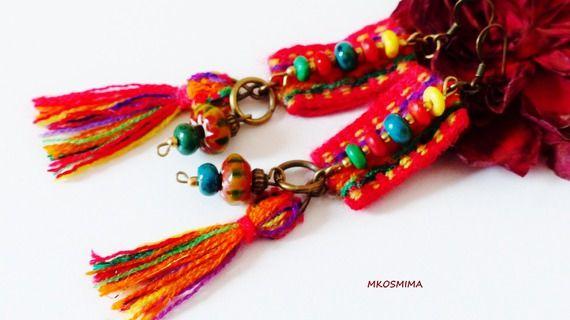 Boucles d'oreille ethniques amérindiennes en tissage, chrysocolle, perles en os et métal bronze