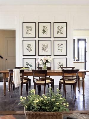 Chic, elegant dining room Botanical photo gallery, farmhouse dining table,  espresso .