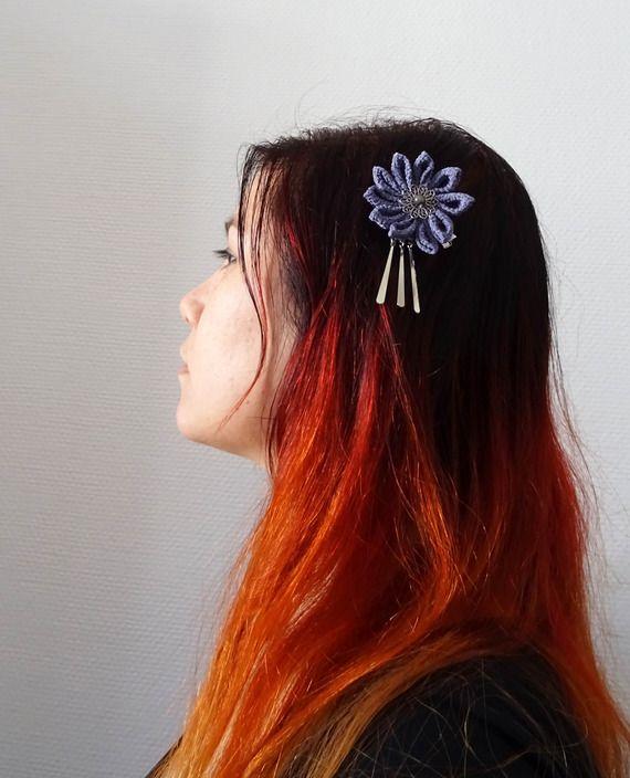 Pince à cheveux fleur Tsumami/ bira-bira Kanzashi grise