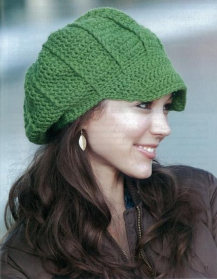 http://www.maggiescrochet.com/crochet-slouchy-beanies-p-2420.html#.UOc6IrZ5Ey4    Slouchy Newsboy-CUTE!    10 projects for Beginner to Intermediate skills, using medium or bulky weight yarns. Stitch up in a weekend or less! You'll enjoy creating the exciting fashions with pretty shells, cables, ripples, and more. Patterns include adult sizes small/medium and large/extra-large, with sizing instructions for getting the perfect fit.