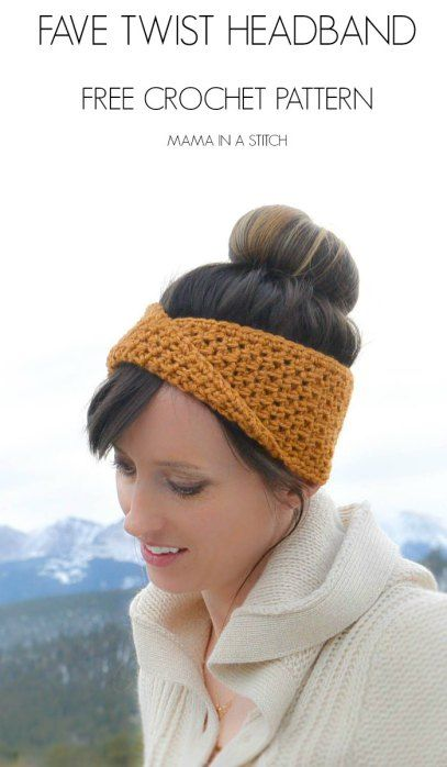 Fave Twist Crochet Headband by Mama in a Stitch - make it with just 1 skein of Vanna's Choice (pictured in goldenrod) and a size H crochet hook.