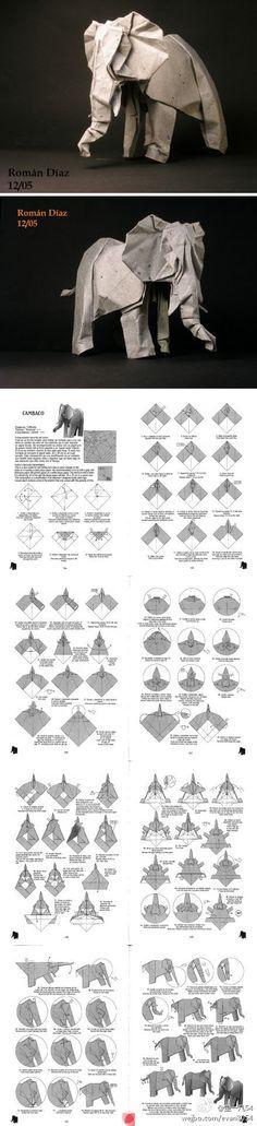 éléphant en origami