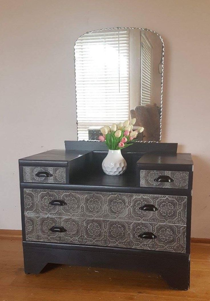 Charcoal and pressed tin look dressing table Chalk paint Pressed tin Pie crust mirror  Dresser
