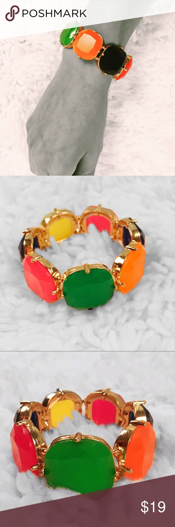 "Neon Multicolor Gold Stretch Bangle Neon colors pink, orange, green, and purple in gold colored alloy setting.  Connected using elastic for  stretch to fit most wrist sizes.  1"" Height. Farah Jewelry Jewelry Bracelets"