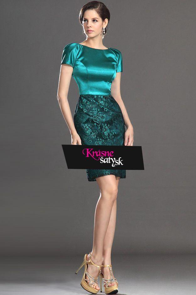 afd6b19e855d Zelené koktejlové šaty s čipkovanou sukňou S00573