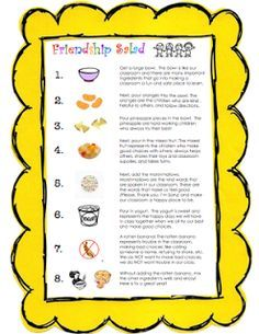 PRINTABLE -- Back to School Friendship Salad Picture Recipe Card. Materials: Large bowl, Mixing spoon, Small bowls and spoons for kids, 1 jar of Mandarin oranges, drained, 1 can of pineapple, drained, 1 can of mixed fruit, drained, Mini-marshmallows, Yogurt, 1 very old and rotten banana.