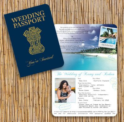 Indian Passport Invitation - Customised with personal information about wedding details and location