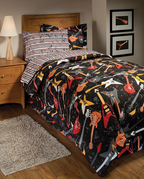 123 best images about bedroom on pinterest comforters for Guitar bedding for boys