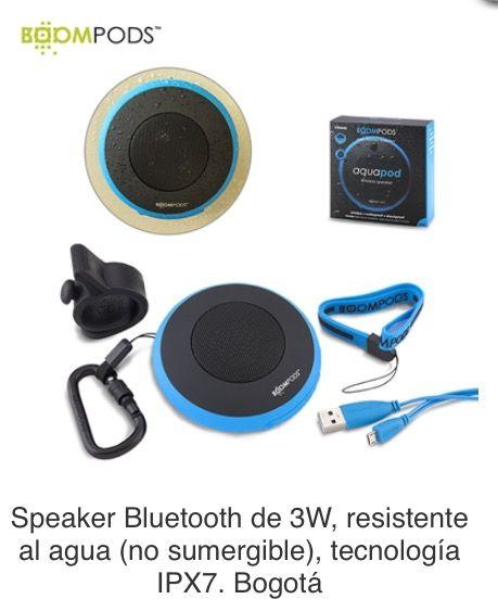 Speaker Bluetooth de 3W, resistente al agua (no sumergible), tecnología IPX7. Batería integrada recargable para 5 horas de reproducción. Anti golpes. Sirve para ducha. Incluye carbinero, chupa, soporte para bicicleta y cordón. Tipo de Producto: IMPORTADO. Medidas: 8.8 cm diámetro. Área de Marca: 3 cm  Técnica de Marca: Tampografía Colores Disponibles: Azul y Gris.