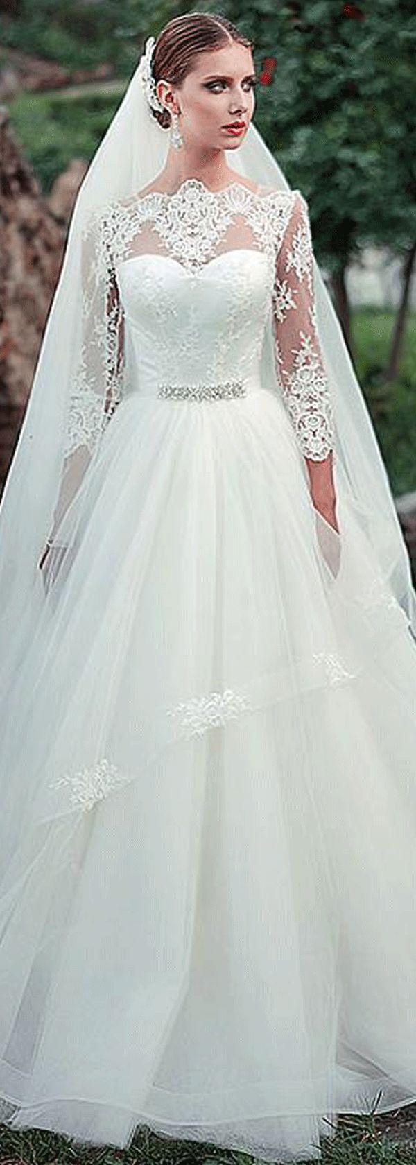 Fabulous Tulle Bateau Neckline A-line Wedding Dresses With Beadings…