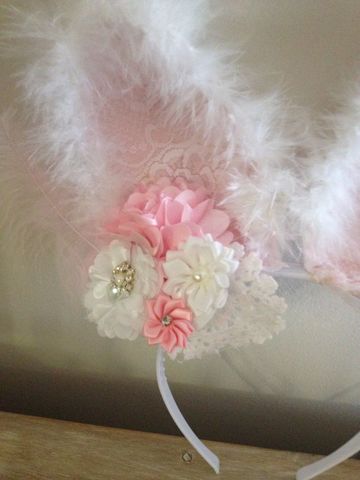 Easter Bunny Ears lace feather crochet doily flowers and bling