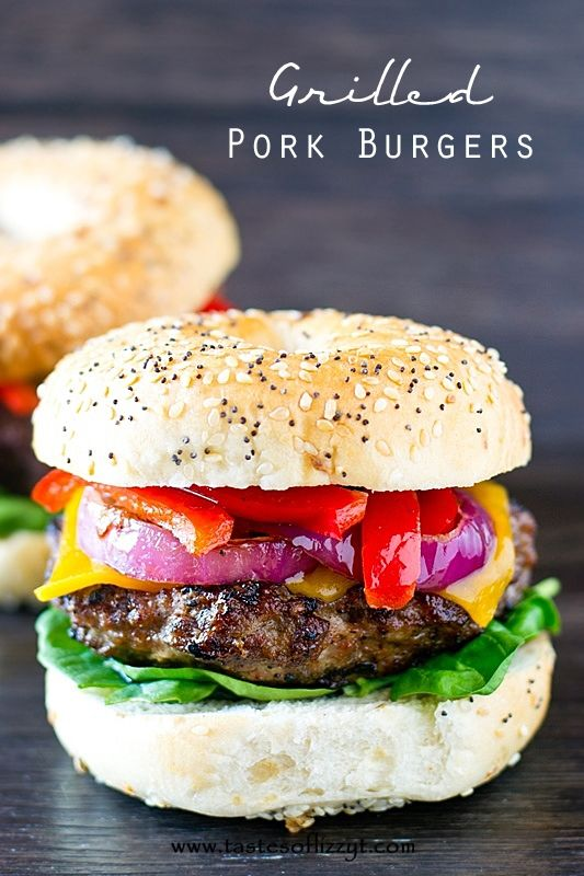 Needing a change from the traditional hamburger? You'll love the savory pork seasonings in these Grilled Pork Burgers with sauteed onions and peppers.