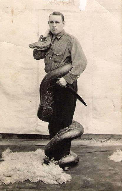"Sideshow Snake Guy-snakes were considered evil and something wasn't ""right"" about people who loved them and trained them!"