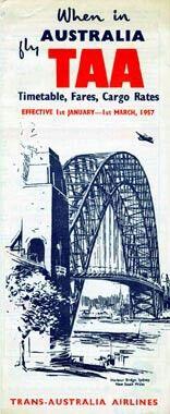 TAA Trans Australia Airlines Timetable 1 Jan 1957