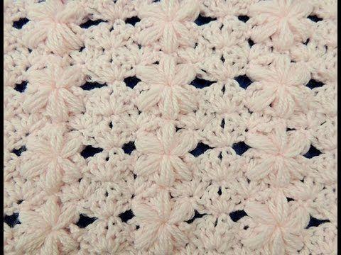 Crochet: Punto Flor Puff # 3 para mantas - YouTube