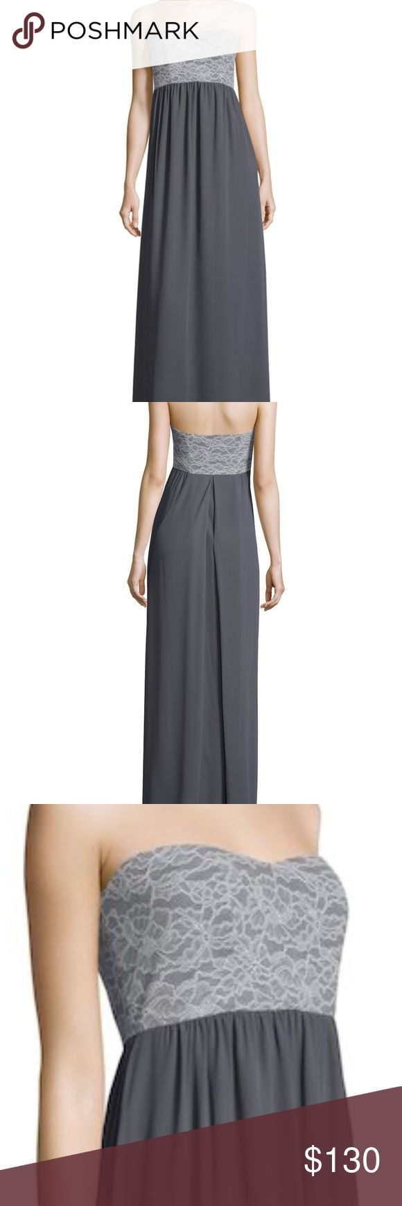 Paper Crown Bridesmaids Breanna Lace Top Maxi EUC (worn once for a wedding) gorgeous lace top maxi dress.  Stock photos pictured show gray colored dress, but **dress being sold is black with the same style and lace detailing as pictured**.  Lace top; Bandeau neck. Stunning fitted bodice & open back concept. Gathered at front skirt, with inverted pleat at back skirt. Tonal topstitching and panel seaming. Fully lined and gorgeous movement. Size XL (fits a women's size 12/14).  From Lauren…