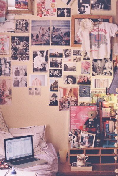 Pictures all over the wall, always wanted to do this, but never had anything good to put on the walls.