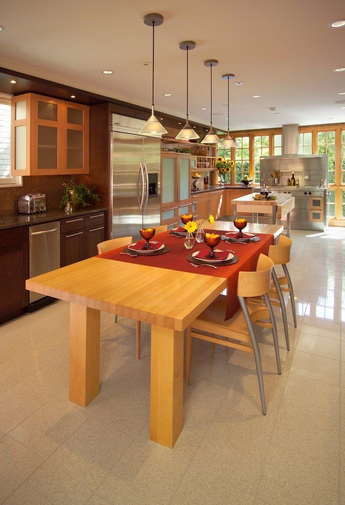 table runner ideas kitchen eclectic with granite tile flooring stainless steel toasters