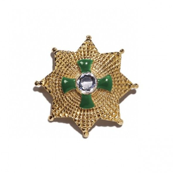 Vintage Gianni Versace green pin by Ugo Correani, 1991