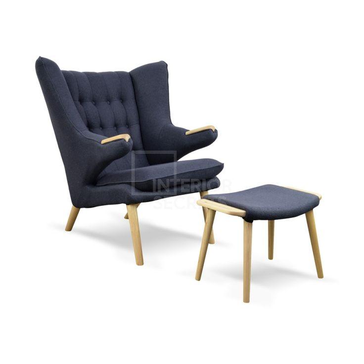 Replica Hans Wegner Papa Bear Chair + Ottoman - Charcoal $1070