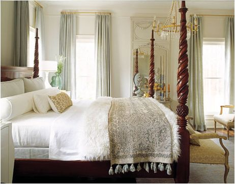 Beautiful traditional master bedroom  ARe the walls white too with ice blue curtains?