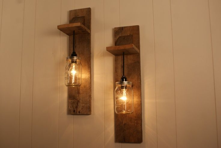 Wall Light Fixture Diy : Pair of Mason Jar Chandelier Wall Mount Fixture -- Mason Jar Lighting - Upcycled Wood - Mason ...