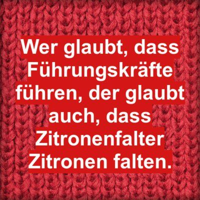 Wer glaubt, dass Führungskräfte führen, der glaubt auch, dass Zitronenfalter Zitronen falten. | erdbeerlounge.de