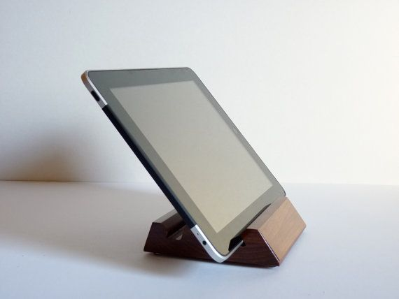 New iPad Stand, Dark Cherry Hardwood, Tablet, Valentine's Day. $28.00, via Etsy.