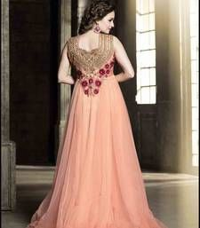 Buy Peach net embroidered semi stitched salwar with dupatta anarkali-salwar-kameez online