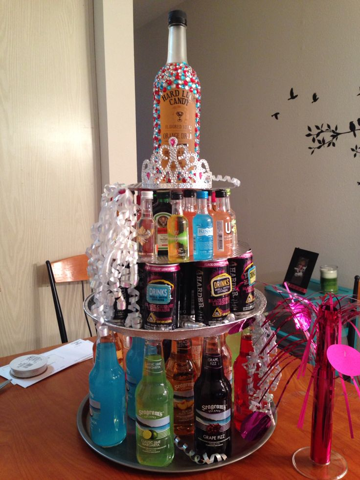 21st Birthday Present Alcohol Tower Cake Party Zone