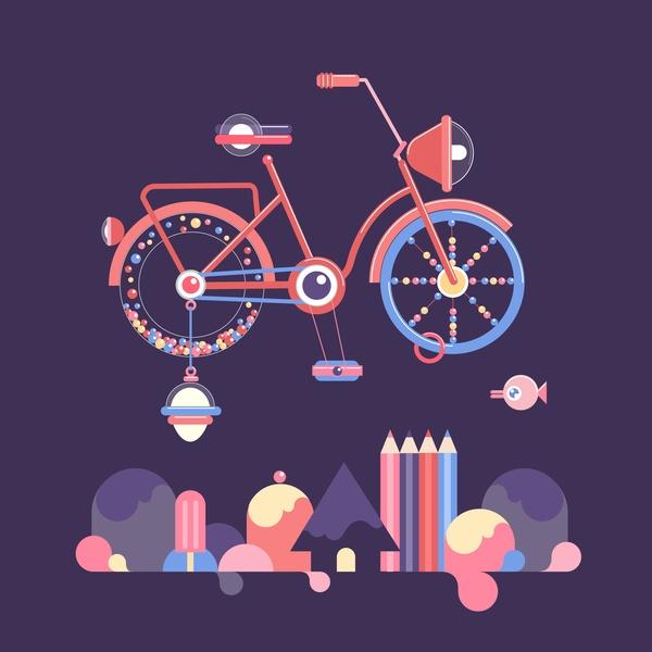 Álbum, viajes en bicicleta on the Behance Network #illustration