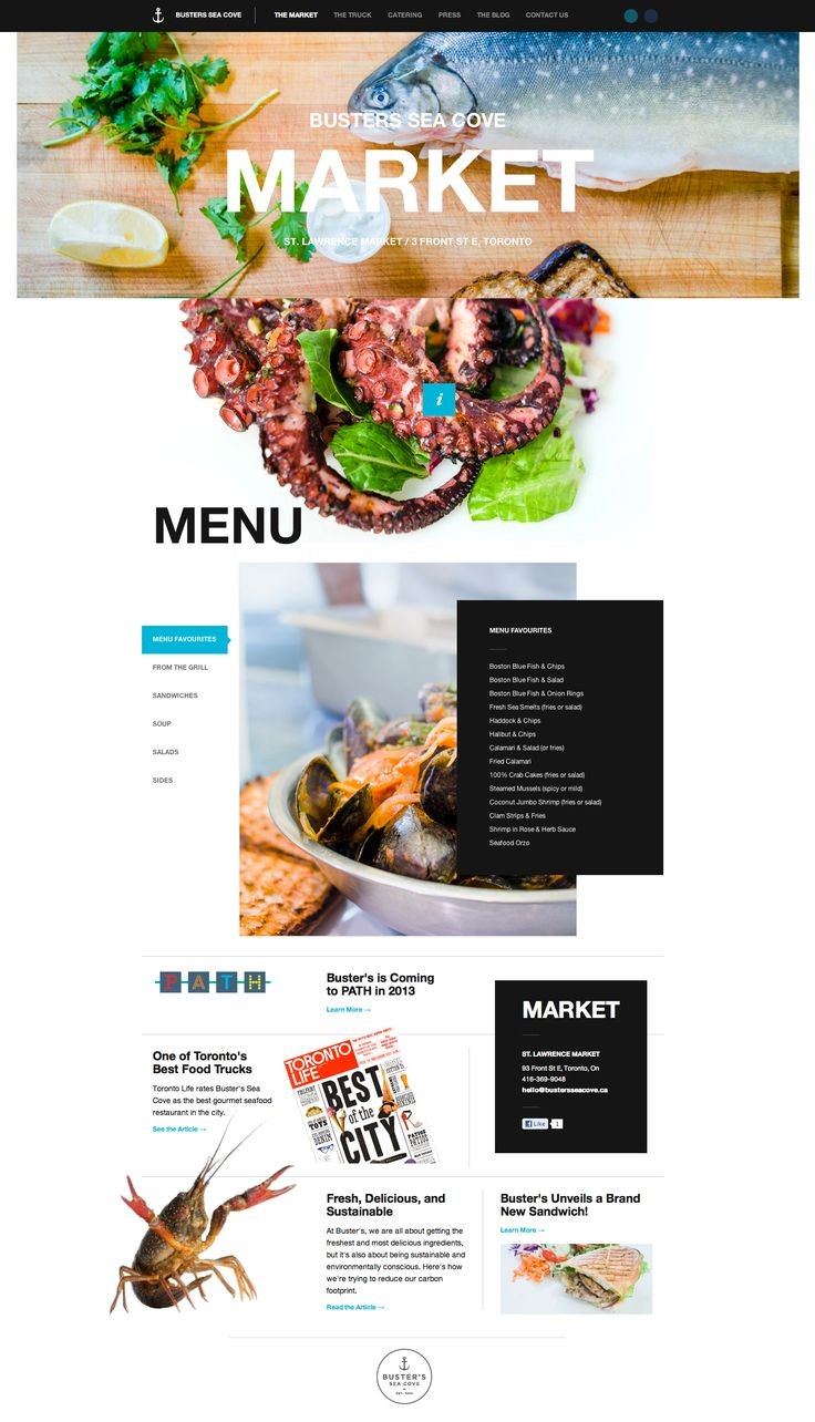 Buster's Sea Cove Restaurant // Website Design Grid Cool Graphic