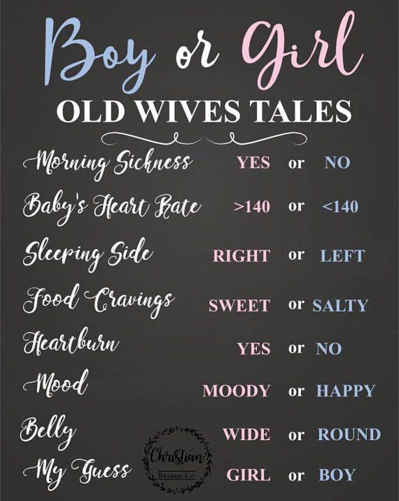 Instant Download Old Wives Tales Gender Reveal Poster Baby Gender Reveal Poster Old Wives Tales Gender Predictions Digital Download Gender Reveal Signs Gender Prediction Old Wives Tales Gender