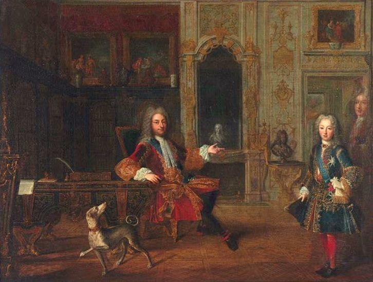 Louis XIV et son neuveu Philippe d'Orléans